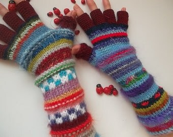 HAND KNITTED GLOVES / Half Fingers Mittens Cabled Multicolored Gift Arm Women / Warm Accessories Elegant Feminine Wrist Warmers Winter 1244