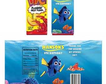 Finding Dory Birthday Party Juice Box Wrappers - Printable