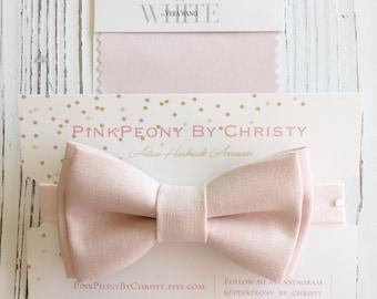 Peach blush linen bow tie - blush bow tie - peachpuff bowtie - blush linen bow tie - groomsmen - daddy and son - ring bearer - dog bowtie