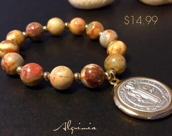 St Benedict bracelet semi prescious stone bracelets