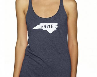 Home North Carolina Tank Top, Women's Graphic Racer back Tank, Home State Shirt, Indigo