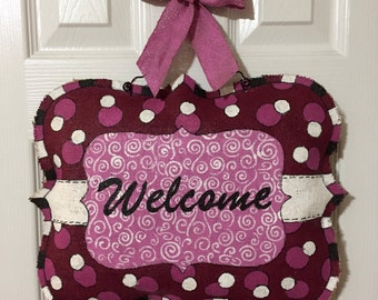 Painted Burlap Door Hanger Pink Polka Dots