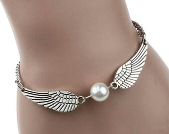 Angel Wings Bracelet - Harry Potter Snitch Bracelet - Harry Potter Jewelry - Harry Potter Bracelet