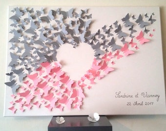 "guest book - signature-3d tree fingerprint tree ""butterflies"" for 150-180 people"
