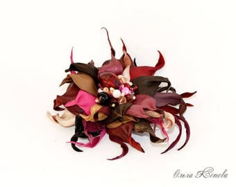 Fuchsia Berry Burgundy Red Chocolate Brown Leather Flower. leather anniversary, corsage flower, leather gift for her, leather jewelry brooch