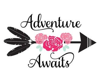 adventure svg, adventure awaits svg, arrow SVG, floral svg, arrow words SVG, arrow feathers SVG, arrows svg, feathers svg, tribal name svg