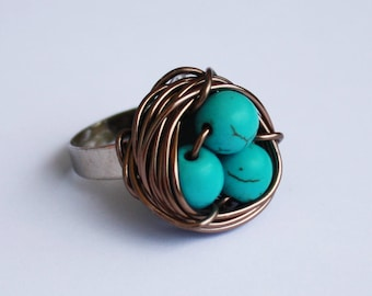 Bird nest Ring - Turquoise eggs