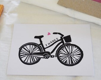 Beach Cruiser Bicycle & Heart Hand Printed Thank you cards - Pack of 6 on Recycled Card