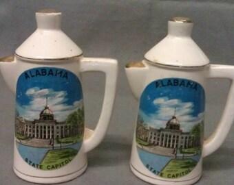 Alabama State Capital Souvenir Teapot Salt and Pepper Shaker Set