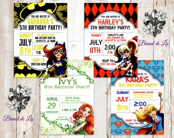 DC Comics Batgirl Harley Quinn Poison Ivy Supergirl Invitations Envelopes Super Heroes Villains Justice League Custom Birthday Baby Shower