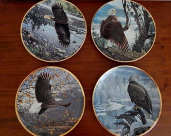 "Vintage Hamilton Collector Plates ""Seasons of the Bald Eagle"" Set of 4 9 1/2"" Plates, Eagle Plate, John Pitcher Collector Plates"
