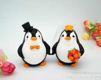 Penguin Wedding Cake Toppers Fall Themed-Love Bird Wedding Cake Toppers-Fall Wedding Cake Toppers Bride And Groom