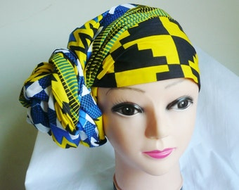 Blue and Yellow Kente Print Ankara Head wrap, DIY head tie, Stylish African head scarf, Fabric hair accessory – Made to Order