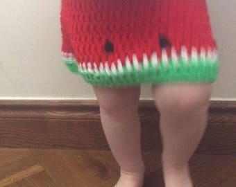 Melon toddler skirt 1/2 years watermelon summer childs handmade crochet. Can be Customised.