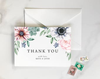 Succulent Thank You Cards, Anemone Floral Thank You Cards, Dahlia Thank You Cards, Floral Thank You Cards, Dahlia, Anehome - Thank You Notes
