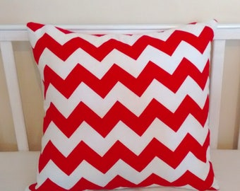 Red and white chevron scatter cushion