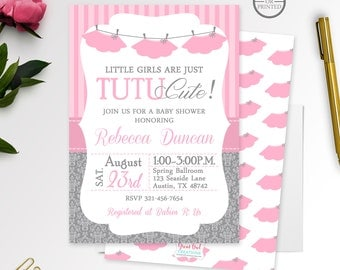 Tutu Baby Shower Invitation | Girl Baby Shower Invitations | Ballerina Baby Shower Invitations | Tutu Invitations, Tutu Cute Baby Shower