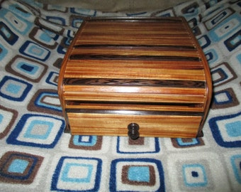 Wenge and Canarywood Rolltop box with drawer