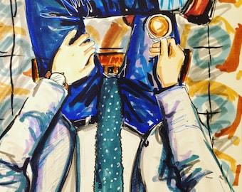 Dapper Gentleman Original Fashion Illustration by Cris Clapp Logan