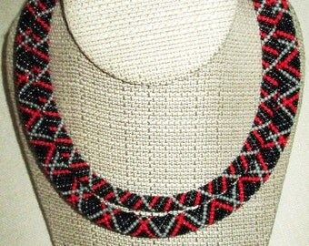 Ukrainian jewelry. Ukrainian Necklace. Beaded necklace. Red + Black. Business style necklace.
