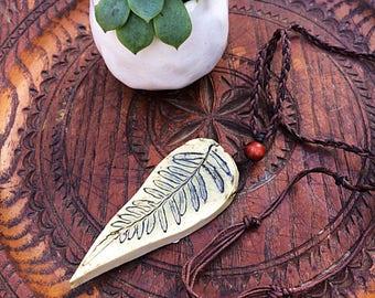 Fern ceramic necklace hemp cord