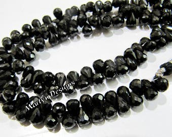 Natural Black Spinel Faceted Teardrop Shape Beads , Beautiful Black Spinel Drop Shape 6x8mm Size Beads , Length 10 inch Long , Side Drilled