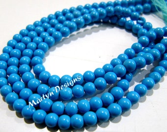 Pack of 5 Strings 13-14 inch Long, Smooth Turquoise Round Beads , 3mm Size Synthetic Turquoise Beads, Dark Blue Color Beads