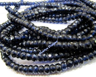 High Quality Blue Sapphire beads 6 to 8mm , Strand 8 inch Long , Precious Gemstone Beads , Micro Faceted , Hydrothermal Lab Created Beads.