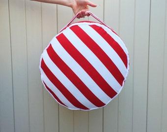 Red Stripe Floor Cushion Toddler Pillow Pouf