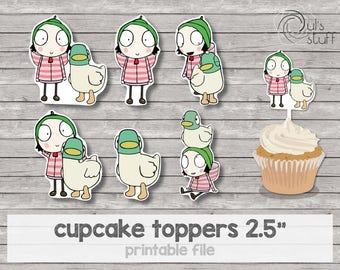 Printable Sarah and Duck cupcake toppers