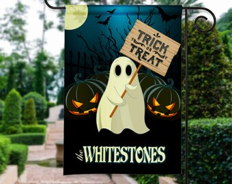 Happy Halloween Personalized Ghost Pumpkin Trick or Treat Scene Holiday Garden Flag Yard Sign Decor Decoration Custom Banner w Your Name