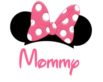 Disney mom minnie mouse shirt mickey mouse ears mommy shirt dinsey mom minnie mouse mommy mickey mouse ears pink bow shirt iron on transfer personalized free pronofoot35fo Gallery