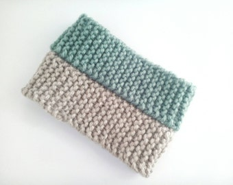Chunky Garter Stitch Snood - Hand Knit Two Tone Scarf - Cream/Mint