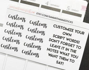 CUSTOMS Lettering for use with Erin Condren Lifeplanner™ Happy Planner Stickers