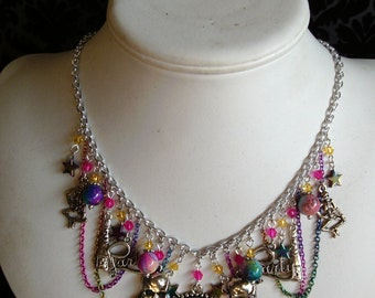 Party like a Rock Star~ colorful rainbow charm necklace