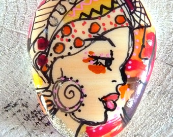 Pendant African-wax-painted hand-roller artistic jewel-African ceramic roller painted cabochon oval-room single