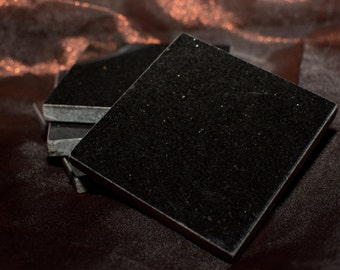 Black Granite Coasters with Smooth Gray Edge
