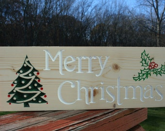 Merry Christmas Sign Carved in Wood
