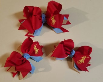 Polo Hairbows, Stacked Hairbows, Medium, Boutique Hairbows, Set