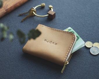 Halfzipwallet natural / Zipper wallet / Small leather wallet / Minimalist wallet