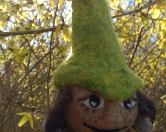 Forest Gnome Felted Ornament: Wylder