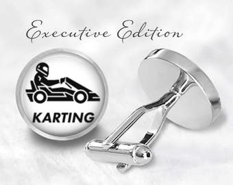 Karting Cufflinks - GoKart Cufflinks - Kart Cuff Links - GoKart Racing Cufflinks (Pair) Lifetime Guarantee (S0802)