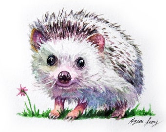 Hedghog Original Watercolor ACEO Painting, Nursery Decor Art Card, Ooak Wall Art, Woodland Animal Art, Fine Art,  Small Hedghog Illustration
