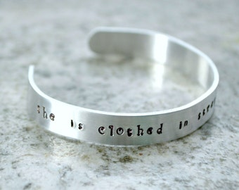 Metal Stamp Cuff Bracelet: She is Clothed in Strength and Dignity - perfect gift for the Christian Catholic faith woman mom friend Scripture