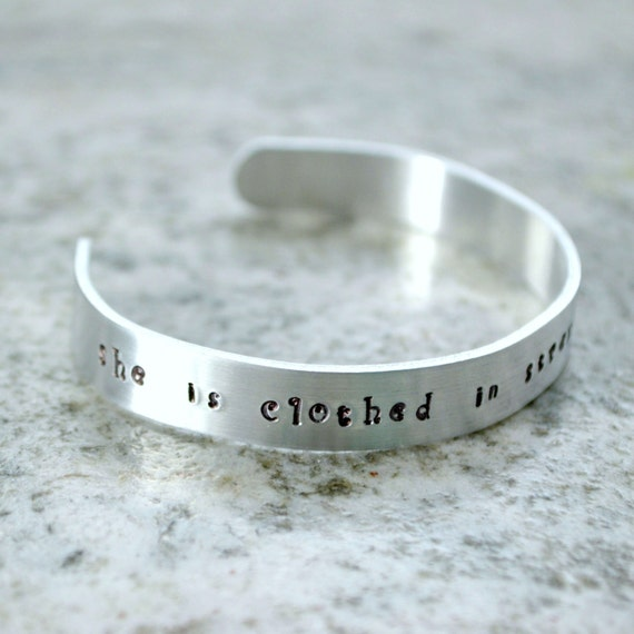 She Is Clothed With Strength And Dignity Bracelet: Metal Stamp Cuff Bracelet: She Is Clothed In Strength And