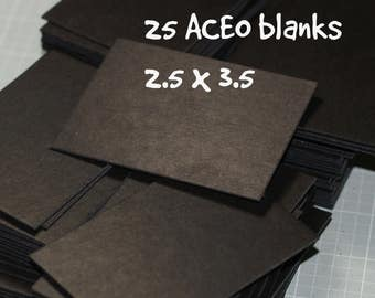 ATC / ACEO Blanks (25) ... Art Cards Black Chipboard Thick Cards Blank Cards Art Supplies Artist Supply Craft Supplies Sturdy Cards