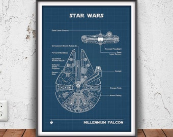 MILLENIUM FALCON poster, star wars printable, star wars blueprint, star wars wall art, star wars decor, han solo, chewbacca, rebel, #3036