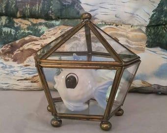 Vintage Brass and Glass Lidded Geometric Terrarium, Jewelry Box, Key Holder, Shell Display.