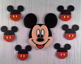 Mickey Mouse cake topper & 6 cupcake toppers set boy or girl