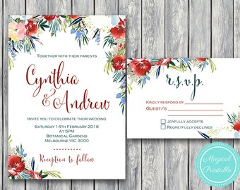 Custom Wedding Invitation Set, Wedding Invitation Printable, Pink Floral Engagement Party Invitation, Wedding Invitation Suite WI47